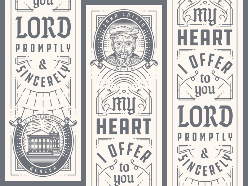 John Calvin Bookmark ornament typography illustration bookmark