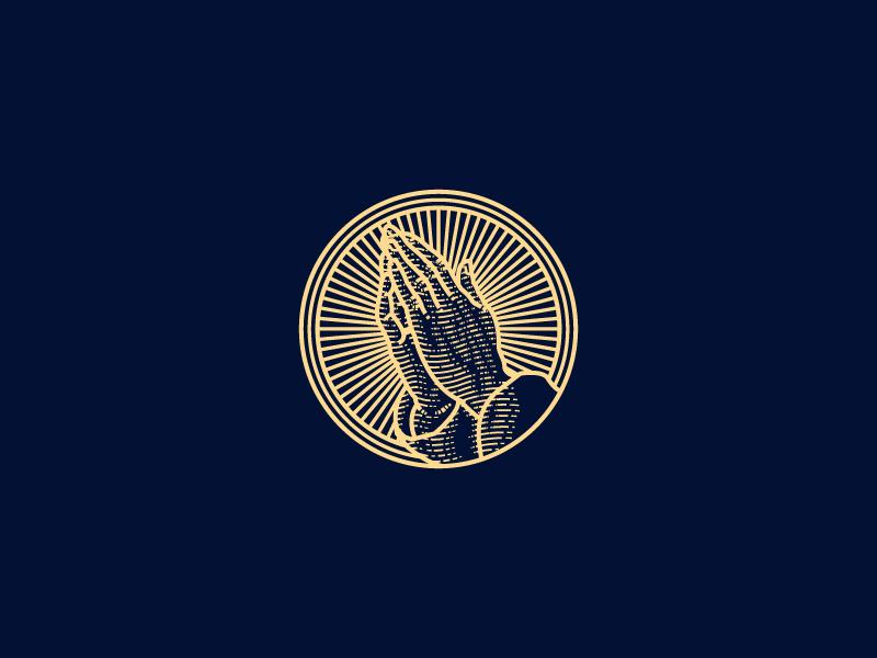 Praying Hands illustrator illustration woodcut vector logo engraving