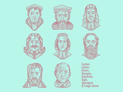 Reformed Church History Portraits — Line Engraving illustrator vector etching scratchboard line engraving engraving illustration