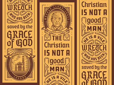 Lloyd-Jones Bookmark scratchboard woodcut etching engraving typography illustration