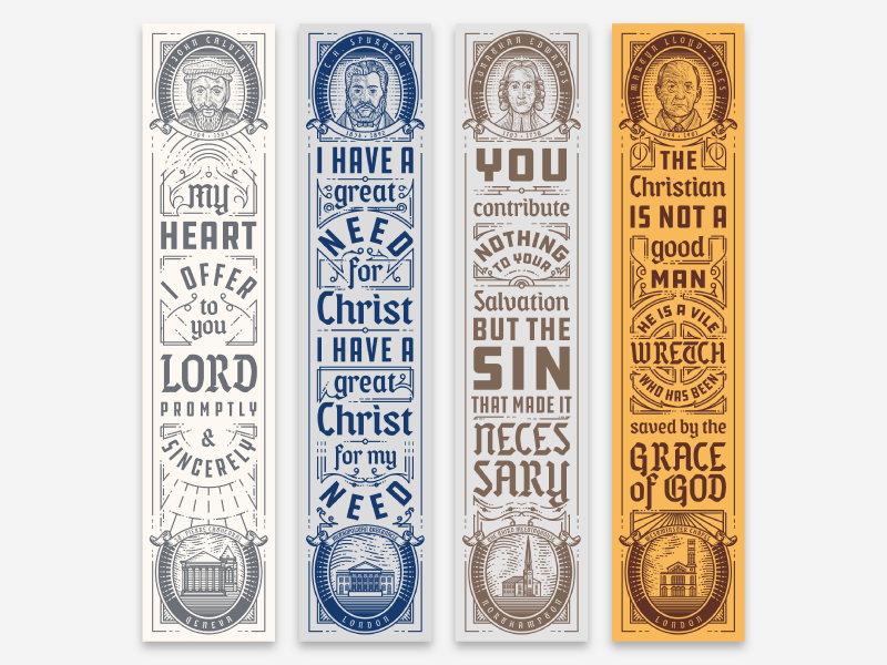 Theologians Bookmarks (4/8) etching engraving line engraving vector typography illustration