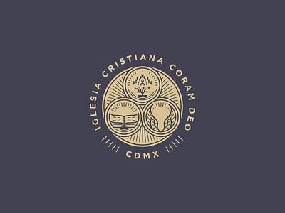 Iglesia Cristiana Coram Deo line art icon badge logo illustration