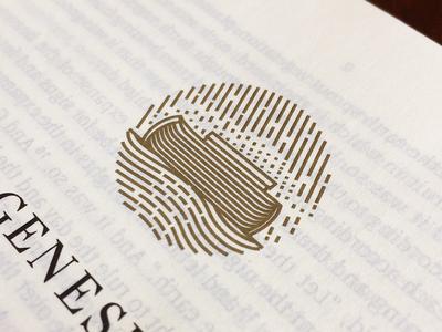 Genesis (Printed) bible scratchboard etching line art engraving icon badge illustration