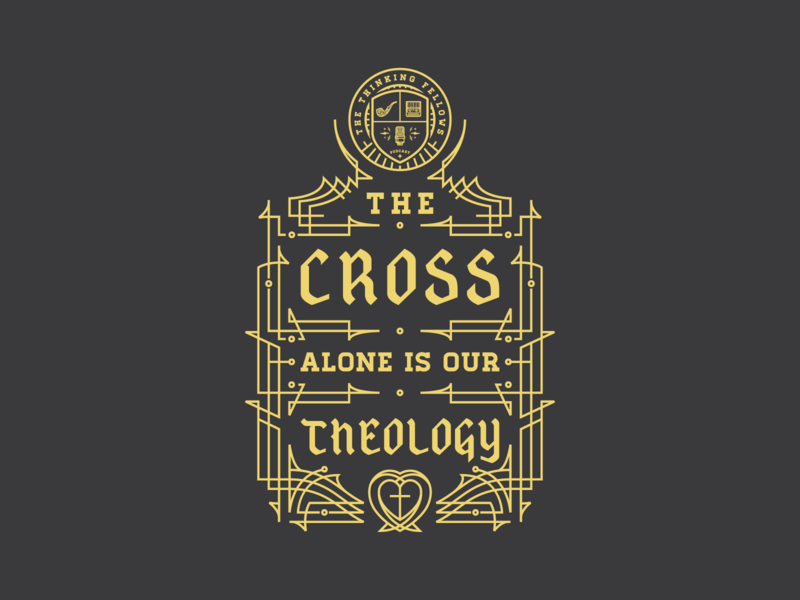 The Cross Alone Is Our Theology apparel line art vector badge illustration