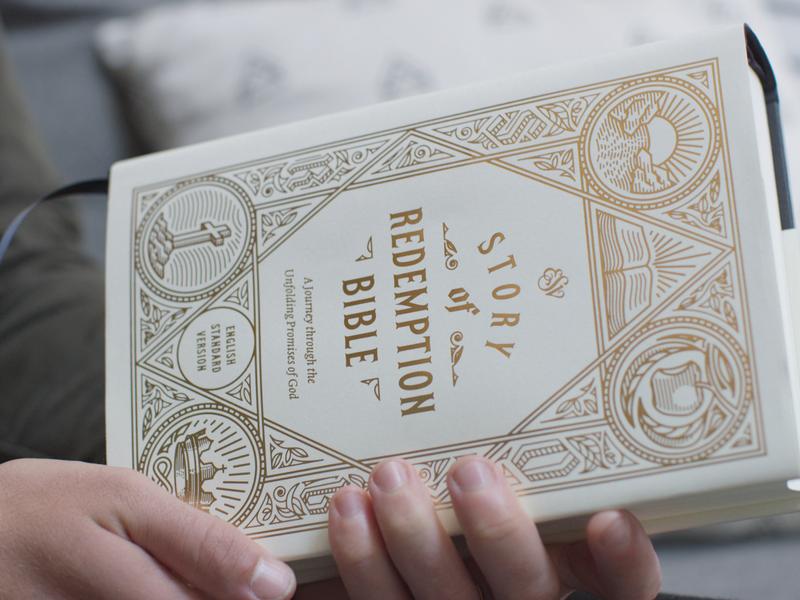 ESV Story of Redemption Bible — Pre-Order filigree illustrator crosshatching line engraving etching typography cover engraving vector illustration