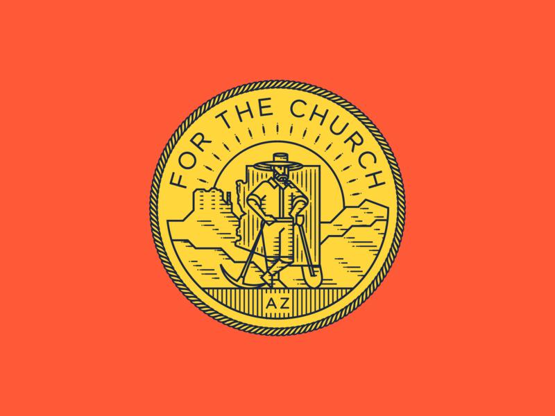 For the Church • Arizona peter voth design line art icon logo vector badge illustration