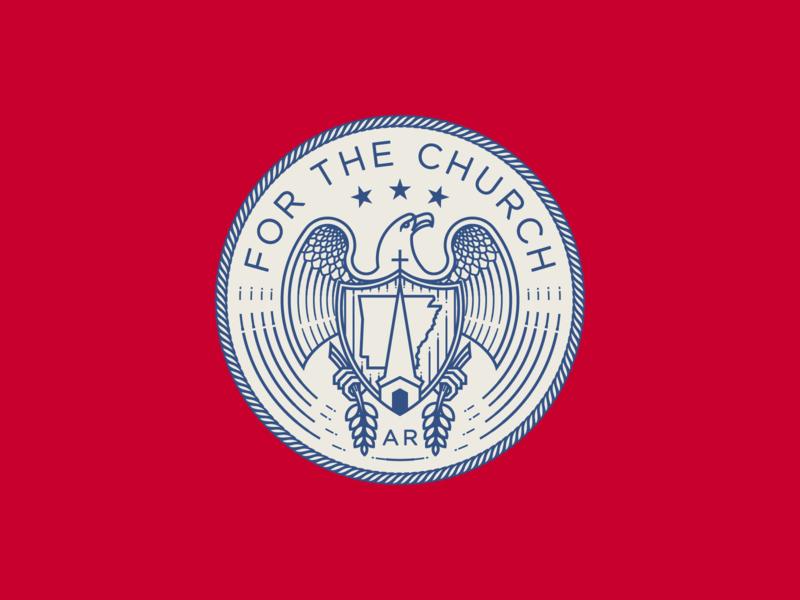 For the Church • Arkansas flag seal etching illustrator peter voth design branding engraving icon logo vector badge illustration