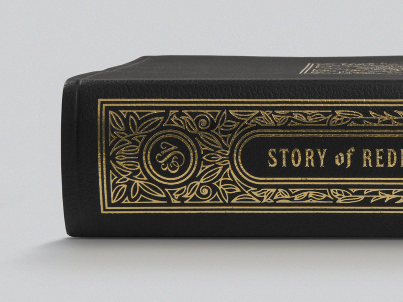 ESV Story of Redemption Bible – Leather (Spine) filigree graphic design peter voth design bible design bible ornaments vector illustration