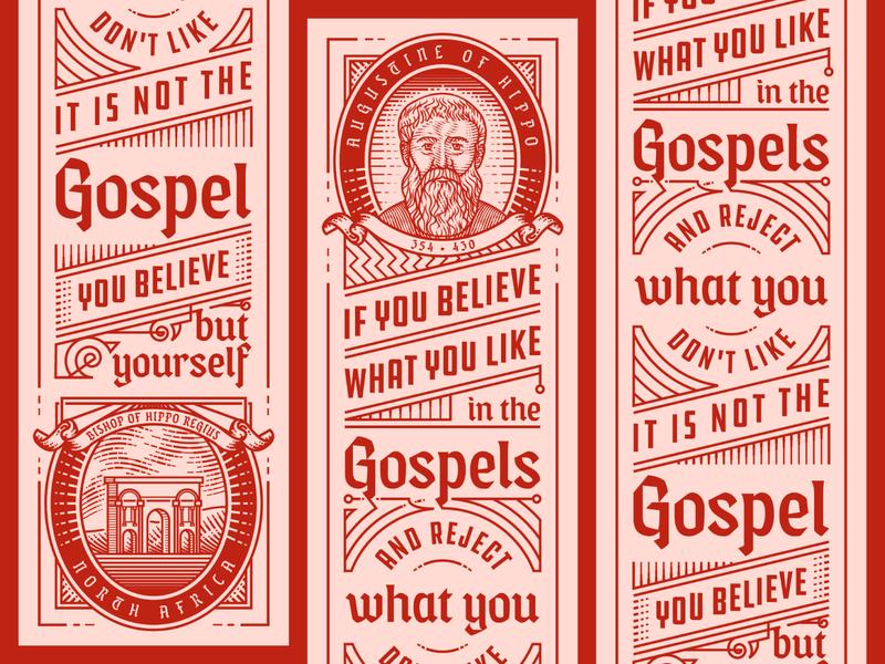Augustine Bookmark typography line art line engraving etching peter voth design engraving badge vector illustration