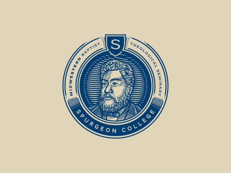 Spurgeon College etching portrait peter voth design engraving icon illustration vector badge