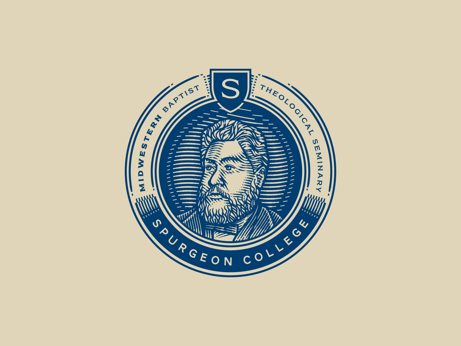 Spurgeon College etching portrait peter voth design engraving icon illustration vector badge