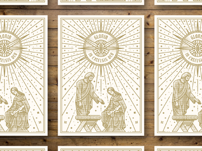 Gloria in excelsis deo graphic design etching illustrator peter voth design icon engraving logo badge vector illustration