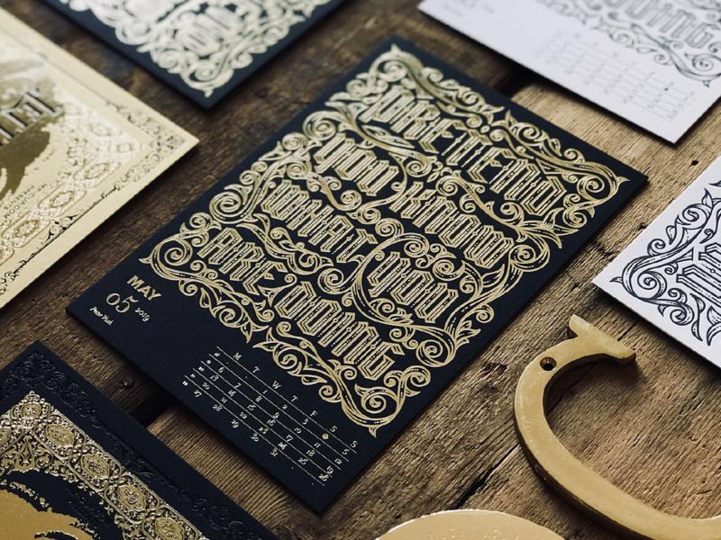 2019 LETTERPRESS CALENDAR - DELUXE EDITION letterpress etching illustrator peter voth design engraving badge logo vector illustration