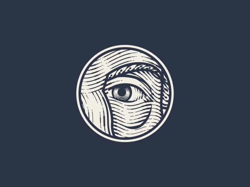 Johannes Gutenberg face badge line art illustrator etching peter voth design icon engraving logo vector illustration