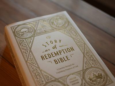 ESV Story of Redemption Bible (Close up) filigree graphic design vintage illustrator etching peter voth design engraving vector badge illustration