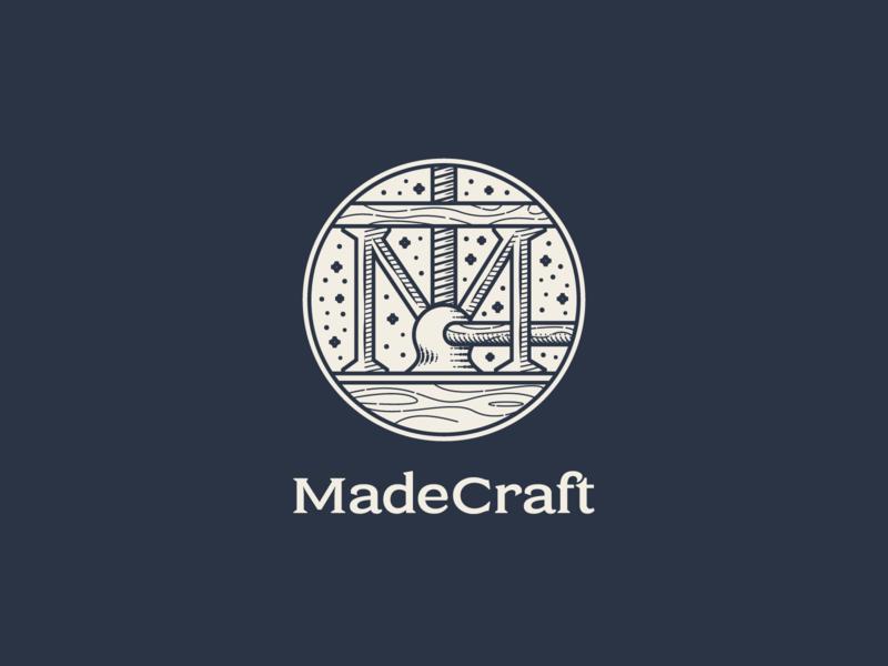 MadeCraft pt.II line art graphic design vintage illustrator branding etching peter voth design icon engraving logo vector badge illustration