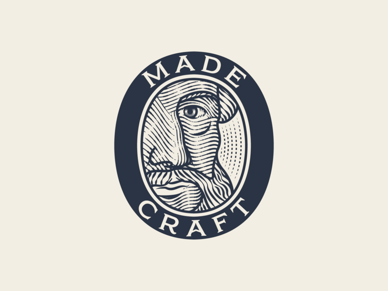 MadeCraft pt.III portrait line art graphic design illustrator branding etching peter voth design icon engraving logo vector badge illustration