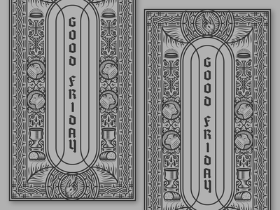 Good Friday jesus church stained glass woodcut line art etching peter voth design icon engraving vector badge illustration