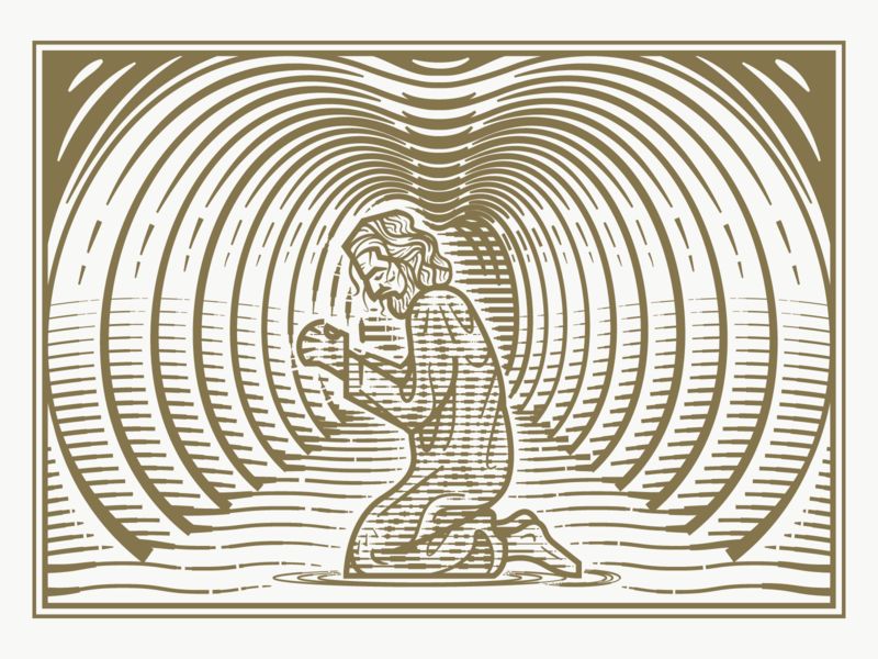 Jonah pt.II crosshatching woodcut line art etching graphic design illustrator peter voth design engraving vector illustration