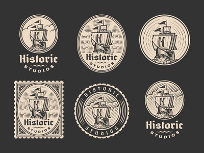 Historic Studios pt.II logo design responsive branding sailing ship vintage line art graphic design illustrator branding etching peter voth design icon engraving logo vector badge illustration