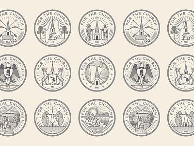 For the Church • Maine – Nebraska branding line art graphic design illustrator etching peter voth design icon engraving logo vector badge illustration