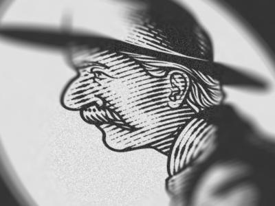 Big Nose George (WIP) packaging illustrator etching peter voth design engraving illustration