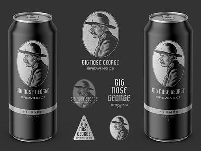 Big Nose George Brewing Co. • Pilsner brewing company spirits packaging craft beer beer branding etching peter voth design icon engraving logo vector badge illustration