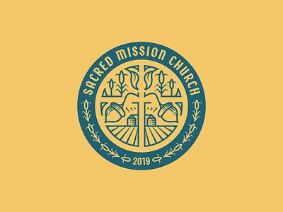 Sacred Mission Church pt. II line art graphic design illustrator branding etching peter voth design icon engraving logo vector badge illustration