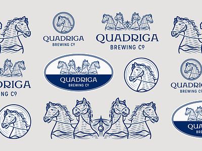 Quadriga Brewing Co. craft beer beer brewing company brewing horse quadriga line art graphic design illustrator branding etching peter voth design icon engraving logo vector badge illustration