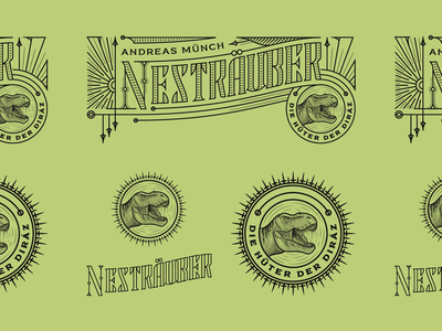 Nesträuber dinosaur bookcover vintage line art graphic design illustrator branding etching peter voth design icon engraving logo vector badge illustration