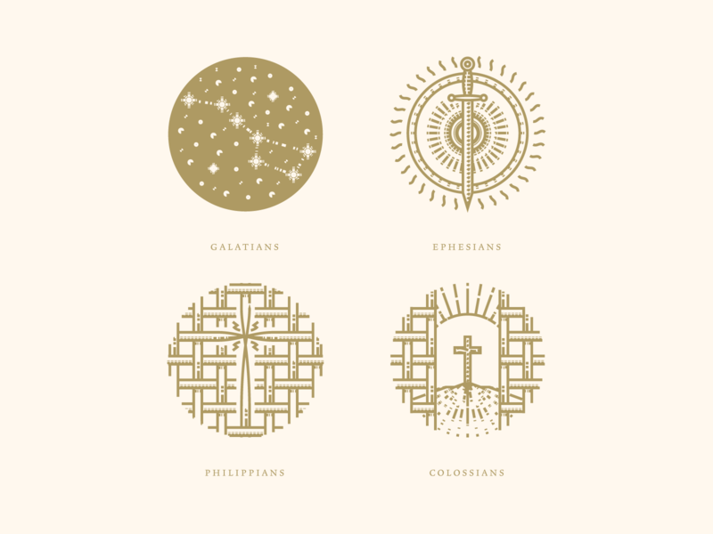 Galatians, Ephesians, Philippians & Colossians bible design bible line art graphic design illustrator etching peter voth design icon engraving logo vector badge illustration