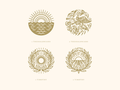 1 Thessalonians, 2 Thessalonians, 1 Timothy & 2 Timothy bible graphic design illustrator branding etching icon engraving logo vector badge illustration peter voth design