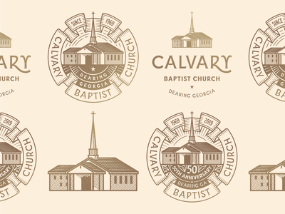 Calvary Baptist Church line art illustrator etching peter voth design icon engraving logo vector badge illustration
