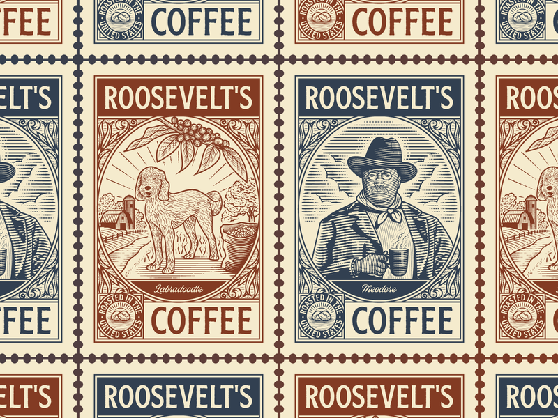 Roosevelt's Coffee logo design branding coffee graphic design line art illustrator etching peter voth design engraving logo vector badge illustration