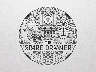 The Spare Drawer branding illustrator etching peter voth design icon engraving logo vector badge illustration