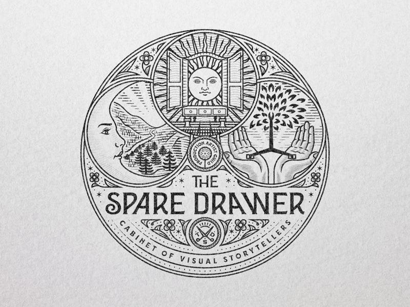 The Spare Drawer branding illustrator etching peter voth design icon engraving logo vector badge illustration