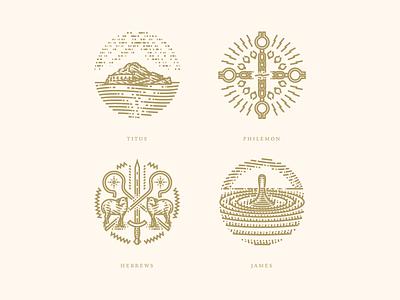 Titus, Philemon, Hebrews & James line art bible illustrator etching peter voth design icon engraving logo vector badge illustration