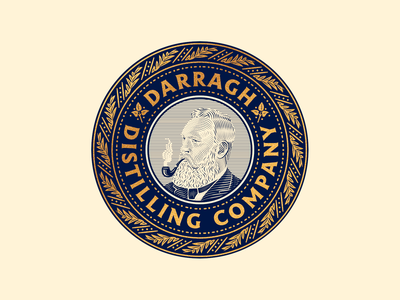 Darragh Distilling Co. whiskey spiritspackaging spirits line art illustrator etching peter voth design icon engraving logo vector badge illustration