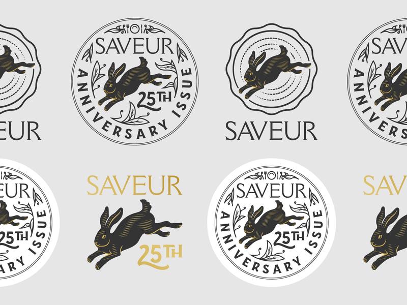 Saveur Magazine • 25th Anniversary line art illustrator etching peter voth design icon engraving logo vector badge illustration