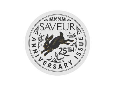 Saveur Magazine • 25th Anniversary line art illustrator etching peter voth design icon engraving logo vector badge illustration