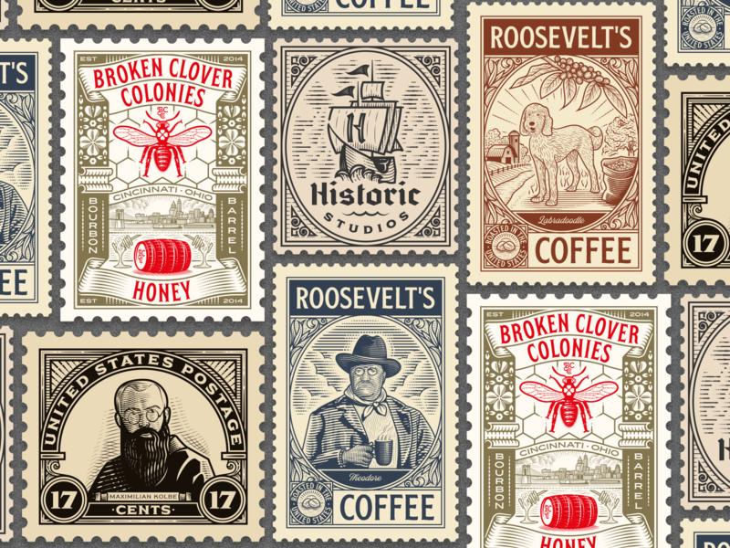 Peter Voth Design — Stamp Collection 2019 woodcut stamp line art illustrator etching peter voth design icon engraving logo vector badge illustration