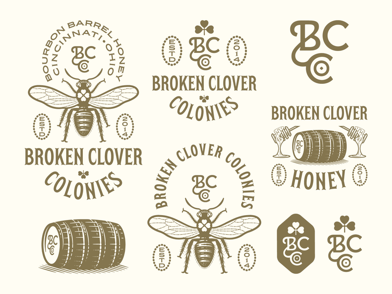 Broken Clover Colonies pt. III graphic design line art illustrator etching peter voth design engraving logo vector badge illustration