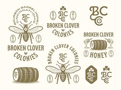 Broken Clover Colonies pt. III graphic design line art illustrator etching peter voth design engraving logo vector badge illustration