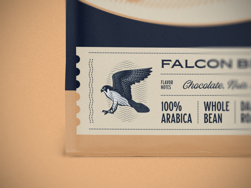 Falcon coffee packaging packaging design packaging graphic design line art badge logo vector illustrator etching engraving peter voth design illustration