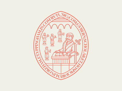 Uppingham School crest seal icon line art illustrator etching peter voth design engraving logo vector badge illustration