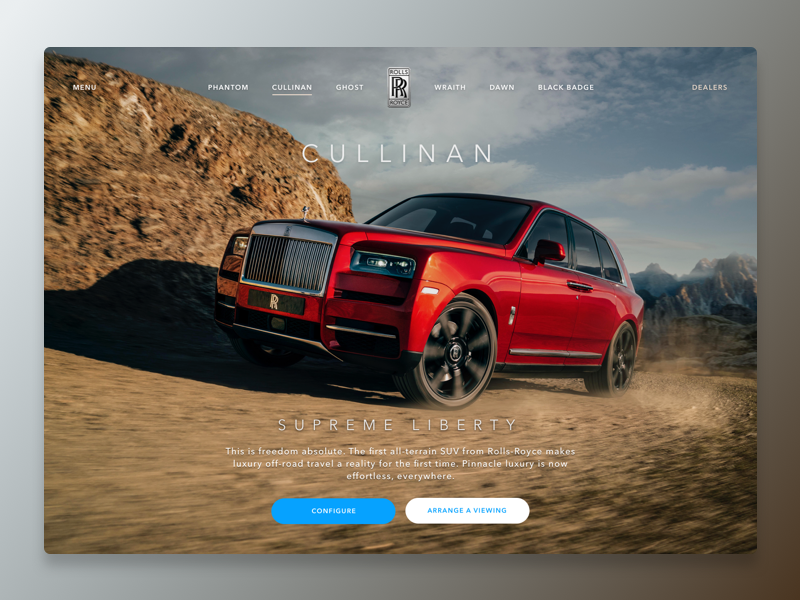Cullinan dailyui website rocks car auto suv off road luxury cullinan cars motor rolls royce
