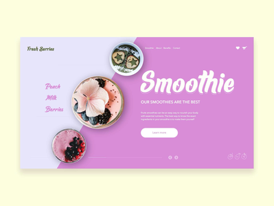 The first screen of the site for smoothies