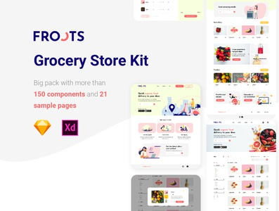 Grocery Store KIT ui design organic shop organic xd sketch desktop web app grocery app grocery groceries shopping store ui kit ui kit