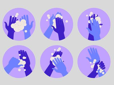 Hands COVID-19 vector minimal concept illustration foam soap wash your hands hands covid-19