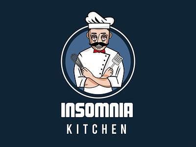 Insomnia Kitchen mascotlogo chef mascot mascot art character illustration minimal cartoon logo branding kitchen kitchen design chef kitchen logo insomnia kitchen insomnia